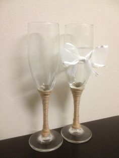 Wedding Champagne Toast Glasses with White Bow and by MyLightSide, $25.00