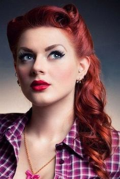 pin up hairstyles, long red hair, women