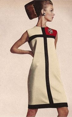 Jean Shrimpton poses in an Yves Saint Laurent F/W 1965 Collection 'Mondrian' dress.