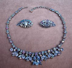 Signed Sherman Parure of Blue Crystal Cocktail Necklace and Earrings C 1950s | eBay