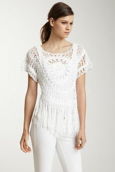 Short Sleeve Fringe Medallion Crochet Dolman by Shu Shu - Bought, I need to stop getting things that are a pain to wash