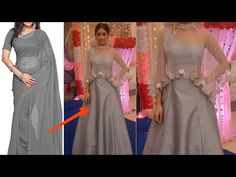 Cape Gown are very much in fashion these days and they look absolutely stunning when worn,It makes you look all glam and sexy. This Diy is super simple and o. Sari Dress, Diy Dress, Floral Maxi Dress, Long Gown Pattern, Simple Kurti Designs, Blouse Designs, Kurta Designs, Morden Dress, Baby Frocks Party Wear