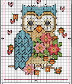 Can be used as a sc tapestry crochet graph Cross Stitch Sampler Patterns, Cross Stitch Owl, Cross Stitch Thread, Cat Cross Stitches, Cross Stitch Samplers, Cross Stitch Animals, Cross Stitch Charts, Cross Stitch Designs, Cross Stitching