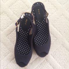 NWOT Navy Peep Toe Slingback Wedges Brand new sling back peeptoe wedges. Super cute! Apt. 9 Shoes Wedges