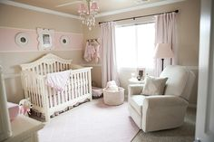 Elegant pink cream nursery and baby shower i like the one horizontal stripe above crib ideas . baby girl room idea gray and pink decor .