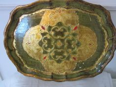 Beautiful Green Florentine Tray Gold with Specks of Red