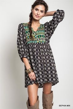 Umgee Sephia Green Navajo Print Romantic Dress Babydoll Tunic Plus Size - XL f265b68fa4cd