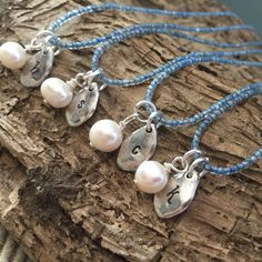 I was thrilled to find the most decadent, antique, Wedgewood blue beads to make these Bridesmaid necklaces! Perfect for a Vintage themed wedding!