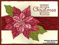 handmade Christmas card .. Joyful Christmas sentiment ... cut out and layered poinsettia focal point ... belly band in deep red embossed with Petals-a-Plenty embossing folder ... like the arrangement of the flower and leaves ... Stampin' Up!