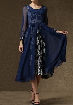 Love this Dress! Wear it one of Two Ways! Dark Blue Floral 2-in-1 Chiffon Maxi Dress #Dark_Blue #Elegant #Party_Dress #Fashion