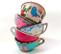 50s Tin Toy Tea cups Sweetheart Set of 5 with by OldeTymeNotions, $42.00