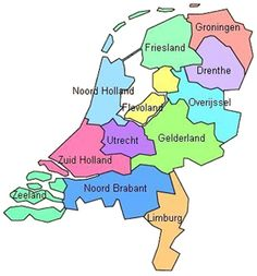 "All 12 provinces of the Netherlands. Flevoland (the yellow part) used to be all water. Dutch engineers are world renowned for their ""art"" of transforming water into land. Rotterdam, Utrecht, Kingdom Of The Netherlands, Holland Netherlands, Eindhoven, Learn Dutch, Going Dutch, Thinking Day, Family History"