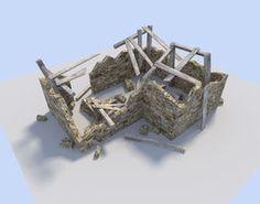 ruined house VR / AR ready 3d model
