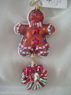 Christopher Radko SPICE FOLKS Gingerbread Man Candy Wreath ornament Retired 2002