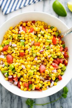 Summer Corn Salad! Grilled corn, bell peppers, tomatoes and more. SO much flavor!