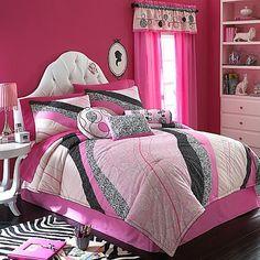 PEPAS COMFORTER SET Girls Teen FULL 4PC Set Black White Pink NEW