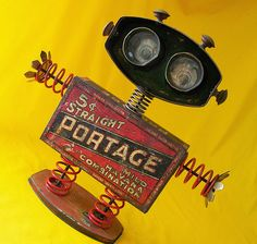 robot assemblage sculpture * BOING-THE BOUNCING BABY ROBOT by Reclaim2Fame, via Flickr