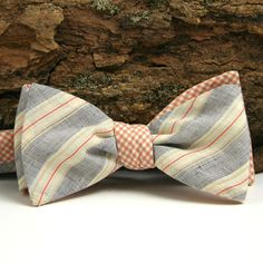 Ghost Stripe & Mini Check Reversible Bow Tie,     General Knot & Co.