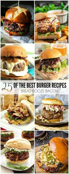 25 of the Best Burger Recipes Some days there's just nothing better than a big juicy burger to sink your teeth into! We've rounded up 25 of the Best Burger Recipes to satisfy the carnivore in you! Gourmet Burgers, Beef Burgers, Burger Recipes, Grilling Recipes, Meat Recipes, Cooking Recipes, Best Burger Recipe, Best Grilled Burgers, Bbq Burger