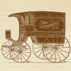 Vintage Laundry Delivery Horse Drawn Wagon Truck