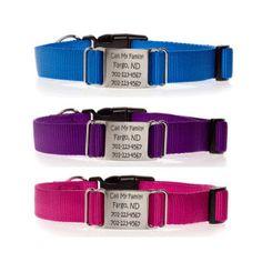 Nylon ScruffTag Personalized Dog Collars - $29 at www.dogids.com