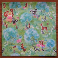 Vintage Gift Wrap - Forest Animals