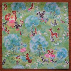Vintage Gift Wrap - Forest Animals