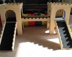(Etsy store) ideas for fancy bunny castles and hay feeder/litter box combos