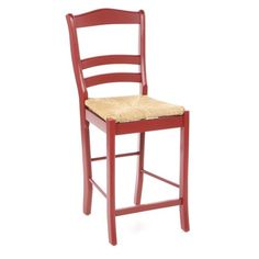 Add a pop of color to your home bar or breakfast nook with this ladderback stool, showcasing a woven natural fiber seat and bold red finish.