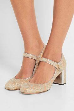 Rochas | Metallic leather-trimmed brocade Mary Jane pumps | NET-A-PORTER.COM
