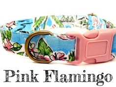 Blue Pink Flamingo Dog Collar  Organic Cotton  by veryvintage