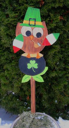 Hey, I found this really awesome Etsy listing at https://www.etsy.com/listing/66143466/leprechaun-owl-sign-hand-painted-wood-st