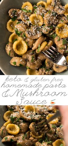 Creamy Gluten Free & Keto Mushroom Pasta  Served with homemade orecchiette or zoodles! #keto #ketodiet #lowcarb #healthyrecipes