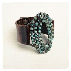 turquoise and brown leather