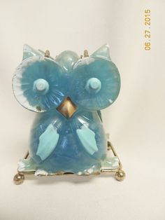 "VTG Owl Napkin Holder Acrylic /Lucite and metal on little ball feet 5 x 4 x 3"" in Collectibles, Vintage, Retro, Mid-Century, 1960s 