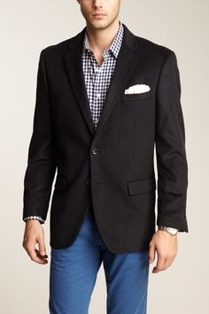 Sport coat, gingham oxford, and blue pants