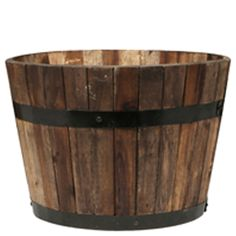 Tuscan Path 46cm Half Barrel Wooden Planter