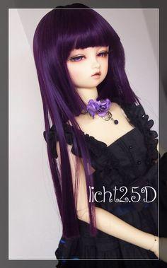 Cap 6-7 1//6 BJD Black Straight Long Wig LUTS Doll SD DZ DOD MSD Soom Volks Hair