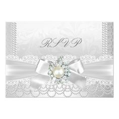 RSVP Wedding White Pearl Lace Damask Diamond Card