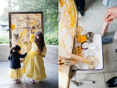 Love this idea of wedding guests painting on a canvas for the bride and groom.