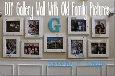 diy gallery wall with old family picturs diy, foyer, home decor, wall decor Picture Hangers, Picture Wall, Picture Frames, Home Decor Pictures, Family Pictures, Light Up Canvas, Mirror Makeover, Hanging Pictures, Wooden Diy