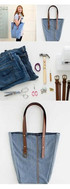 How to Make a Beautiful and Easy Jeans Bag. Diy Jeans, Diy Clothes Bag, Upcycled Textiles, Denim Handbags, Denim Ideas, Diy Purse, Jeans Rock, Denim And Lace, Simple Bags