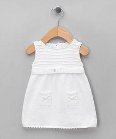 Miskiwawa Bebe   White Tricot Knitted Sleeveless Dress - Infant