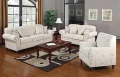 Norah Classic Oatmeal Wood Fabric Living Room Set