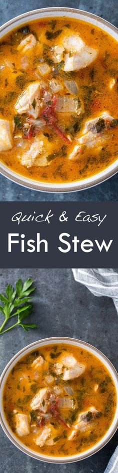 Quick EASY absolutely delicious fish stew! Fresh fish fillets cooked in a stew with onions, garlic, parsley, tomato, clam juice and white wine. Takes less than 30 minutes to make! #EasyDinner #Dinner #Fish #Stew #FishStew #SeafoodStew #GlutenFree #LowCarb