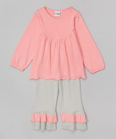 Look at this #zulilyfind! Pink Swing Top & Gray Ruffle Pants - Infant, Toddler & Girls by Barefoot Children's Clothing #zulilyfinds