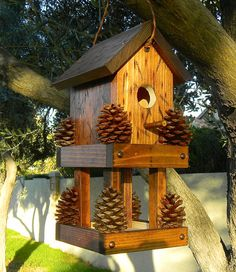 Red bird house feeder 237 by Forthebirdsandmore on Etsy Bird House Feeder, Bird Feeders, Bird House Plans, Wood Bird, Bird Boxes, Fairy Houses, Backyard, Patio, Birds