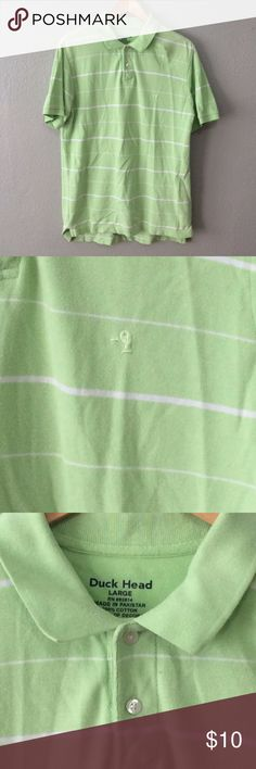 Duckhead Men's Green & White Striped Polo Classic men's polo size large from Duckhead. Item is in excellent condition with no flaws! Please check out my other listings as I do offer a bundle discount, I love offers! Duckhead Shirts Polos