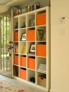 DIY storage bins...diaper boxes, fabric, grommets