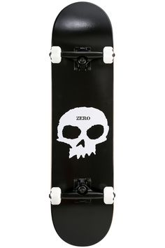 #Zero Features:Deck Width: 8″Deck Length: 31.6″Wheelbase: 14″Medium ConcaveZero Single Skull graphicWheels: Zero 52mm, 101ATrucks: Zero BrandedBearings: ZeroMaterials:Deck Construction: 100% 7-Ply Canadian MapleThe classic Single Skull from Zero is back to strut its stuff, it's a versatile 8″ great for both street and park skaters out there, individually pressed with 7-ply Canadian maple giving it more pop and longer life than ever!